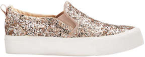 Joe Fresh Toddler Girls' Glitter Sneakers, Light Gold (Size 9)