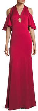 Shoshanna Mulberry V-Neck Cold-Shoulder Center Cutout Gown