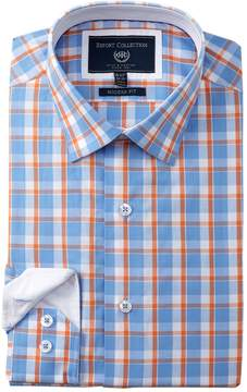 Report Collection Plaid Trim Fit Dress Shirt