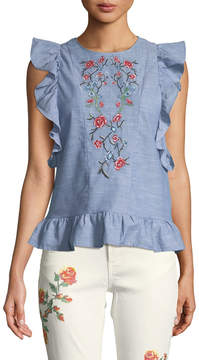 Dex Embroidered Butterfly-Sleeve Open-Back Blouse