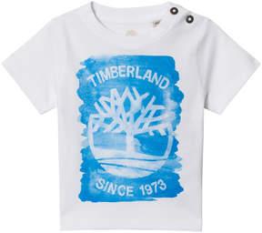 Timberland Kids White and Blue Tree Logo Print Tee