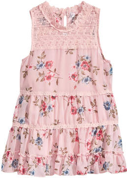 Beautees Floral-Print Ruffle Tank-Top, Big Girls
