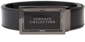 Versace Men's Stainless Steel Buckle Leather Belt Black