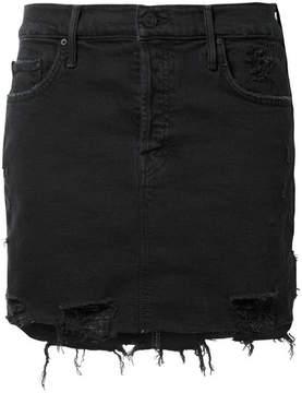 Mother The Vagabond Distressed Denim Mini Skirt - Black