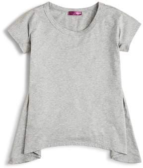 Aqua Girls' Solid Knit Sharkbite Tee, Big Kid - 100% Exclusive