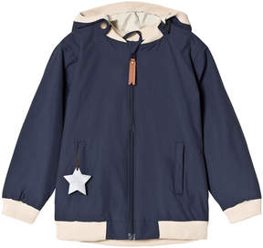 Mini A Ture Navy Blue Rib Detail Hooded Jacket
