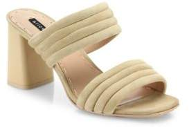 Alice + Olivia Colby Suede Block Heel Slide Sandals