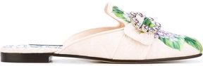 Dolce & Gabbana hydrangea print brocade mules