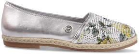 Miss Blumarine Leather rope-soled sandals with rhinestones