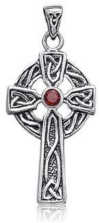 Celtic Bling Jewelry Cross Genuine Garnet Religious Pendant.