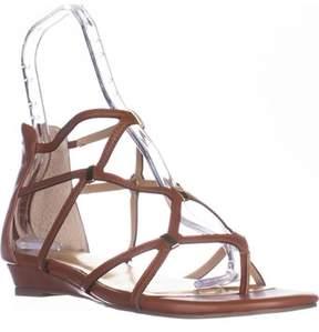 Thalia Sodi Ts35 Pamella Flat Gladiator Sandals, Cognac.