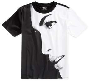 GUESS Mens Face Graphic T-Shirt Black S
