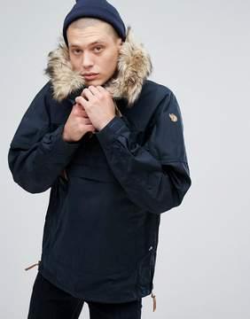 Fjallraven Singi Overhead Jacket with Faux Fur Hood in Navy