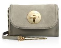 See by Chloe Lois Mini Suede & Leather Chain Clutch
