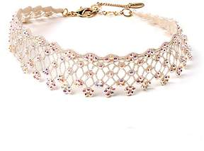 Amrita Singh Ivory Goldtone Aria Lace Choker Necklace