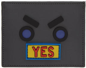 Fendi Grey Faces Yes Card Holder