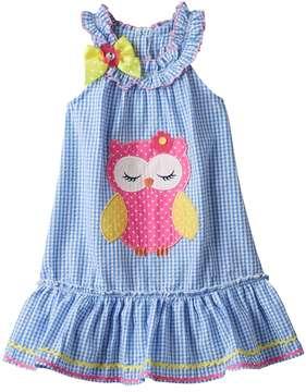 Nannette Girls 4-6x Nanette Seersucker Sleeveless Dress With Applique Detail