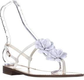Callisto Poli T-strap Flower Sandals, White.