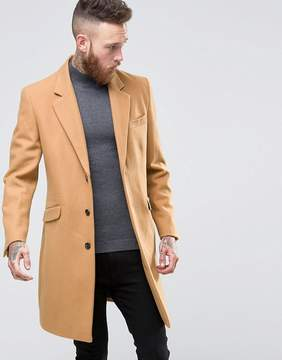 Asos Wool Mix Overcoat In Camel