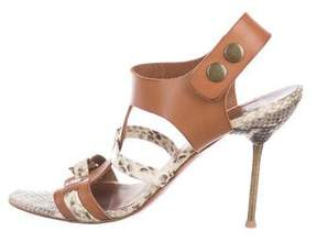 Pedro Garcia Leather Snakeskin-Accented Sandals