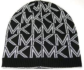 Michael Kors Hat Knit Beanie Women's Dazzling Classic Logo Black and Metallic Silver