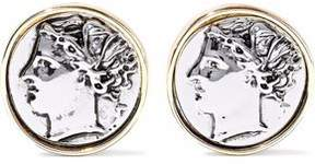 Kenneth Jay Lane Embossed Silver And Gold-Tone Clip Earrings