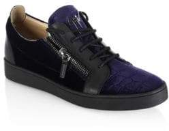 Giuseppe Zanotti Croc-Embossed Velvet & Leather Sneakers