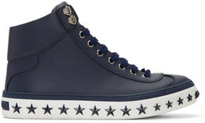 Jimmy Choo Navy Star Sole Argyle High-Top Sneakers
