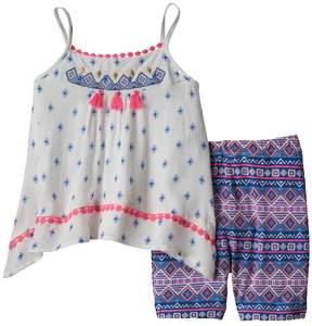 Little Lass Baby Girl Embroidered Gauze Tank Top & Tribal Bike Shorts Set