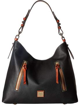 Dooney & Bourke Pebble Cooper Hobo Hobo Handbags - BLACK/TAN TRIM - STYLE