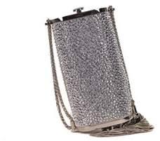 Roberto Cavalli Silver Swarovski Crystal Covered Clutch Shoulder Bag
