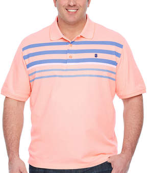 Izod Advantage Performance Engineer Stripe Polo Quick Dry Short Sleeve Stripe Knit Polo Shirt Big and Tall