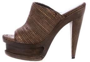 Elizabeth and James Woven Leather Slide Sandals