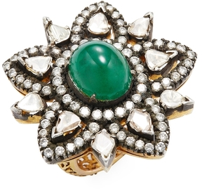 Amrapali Women's 14K Yellow Gold, Emerald & 2.40 Total Ct. Diamond Star Cocktail Ring