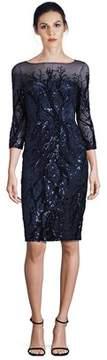 David Meister Sequin Illusion Sheath Dress.