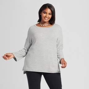 Ava & Viv Women's Plus Size Striped Pullover Gray