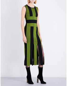 David Koma Striped split-hem fitted woven maxi dress