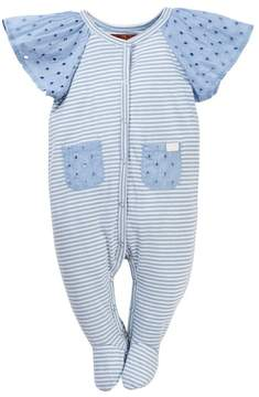 7 For All Mankind Eyelet Sleeve Footie (Baby Girls)