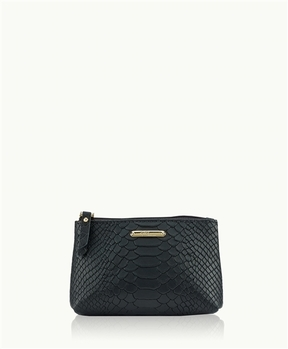 Small Cosmetic Case Embossed Python