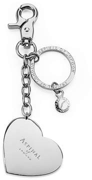 Aspinal of London | Silver Plated Heart Handbag Charm Keyring | Silver plated