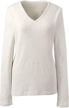 Lands' End Lands'end Women's Plus Size Shaped Long Sleeve Cotton V-Neck T-Shirt