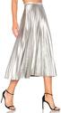 Bardot Pleated Skirt in Metallic Silver