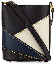 Donna Karan Adan Studded Patchwork Leather Bucket Bag