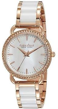 Bulova CARAVELLE by 44L173 NEW YORK Ladies White Ceramic Crystal Watch