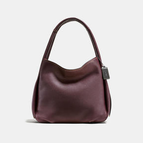 COACH BANDIT HOBO IN NATURAL PEBBLE LEATHER - BLACK COPPER/OXBLOOD