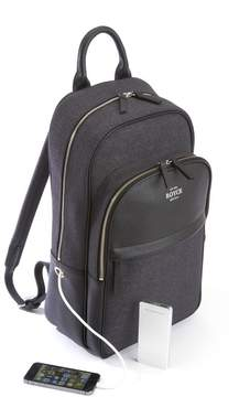 Royce Leather Leather and Flannel Power Bank Charging Backpack