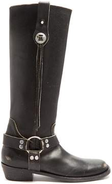 Balenciaga Santiago distressed-leather knee-high boots