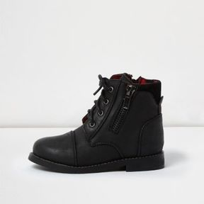 River Island Mini boys black work boots