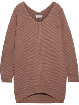 Acne Studios Deka Oversized Ribbed Wool Sweater - Tan