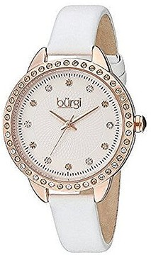 Burgi Silver Dial Ladies Leather Watch